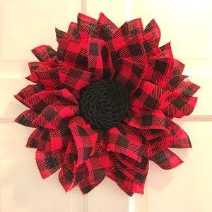 NWOT Red & Black Buffalo Plaid Wreath